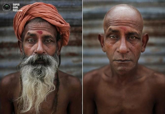 Portraits d'un sadhu avant et après l'initiation  L'initiation d'un nouveau naga sadhu (saints ascétiques nus) a généralement lieu lors du festival Kumbh Mela à Allahabad, dans l'Uttar Pradesh, en Inde, et comprend notamment l'élimination de la plupart des cheveux. Le photographe local de l'Associated Press, Kevin Frayer, a décidé de capturer cette transformation dans des portraits «avant et après».