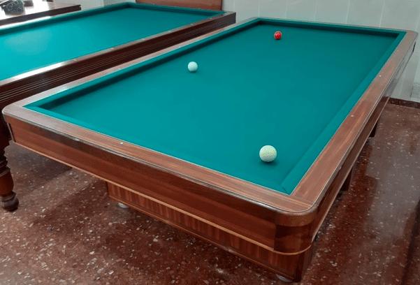 Billiards table has no pockets