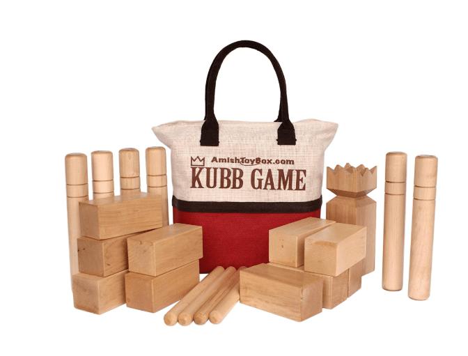 Amish-Made Deluxe Maple Hardwood Kubb Game