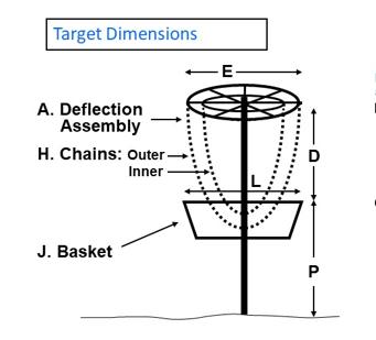 Disc golf basket dimensions