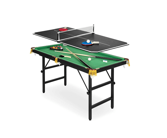 Portable Folding Mini 2-in-1 Ping-Pong Pool Table Set