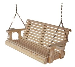 CAF Amish Heavy Duty 88 lbs Roll Back 5ft Treated Porch Swing With Cupholders
