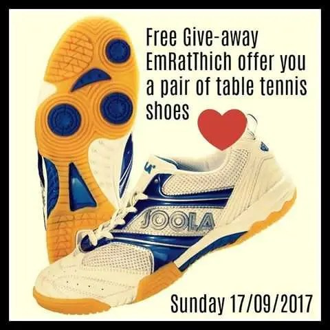 table tennis shoes giveaway