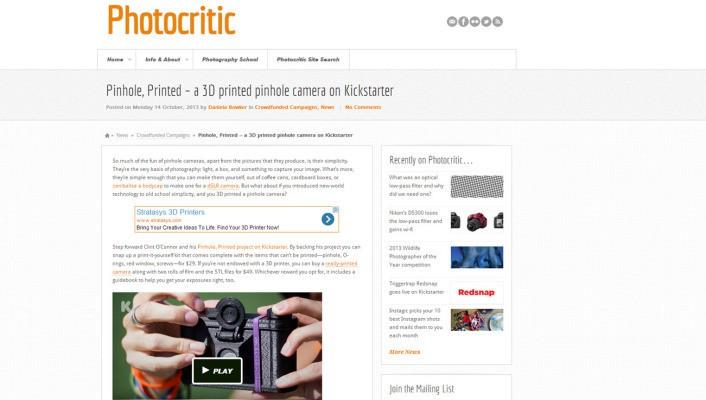 Pinhole, Printed – a 3D printed pinhole camera on Kickstarter