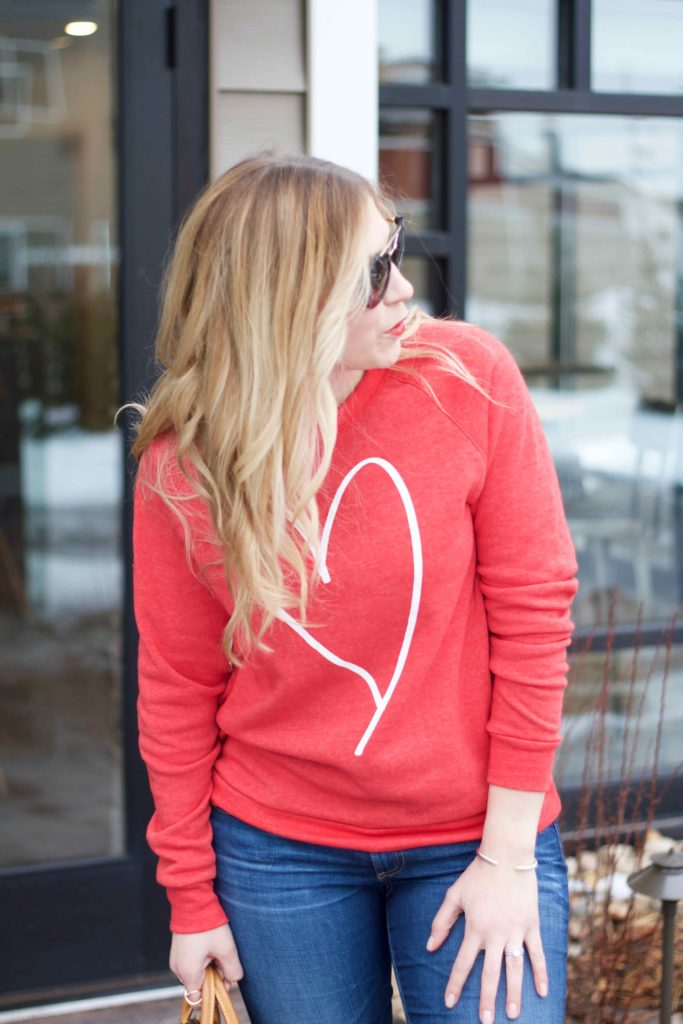 Heart Sweatshirt Pink And Navy StripesPink And Navy