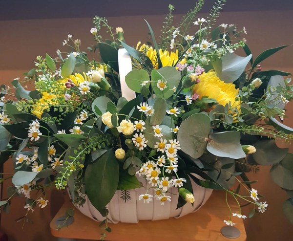 yellow country trug floal arrangement