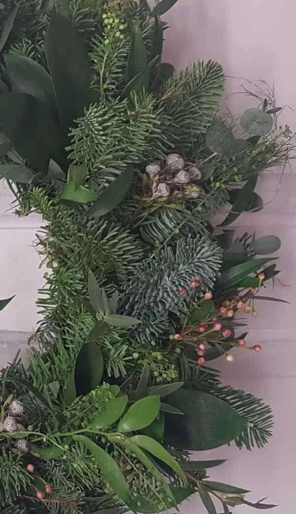 Edge of christmas wreath