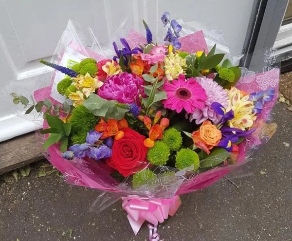 pink and perfect rainbow bouquet