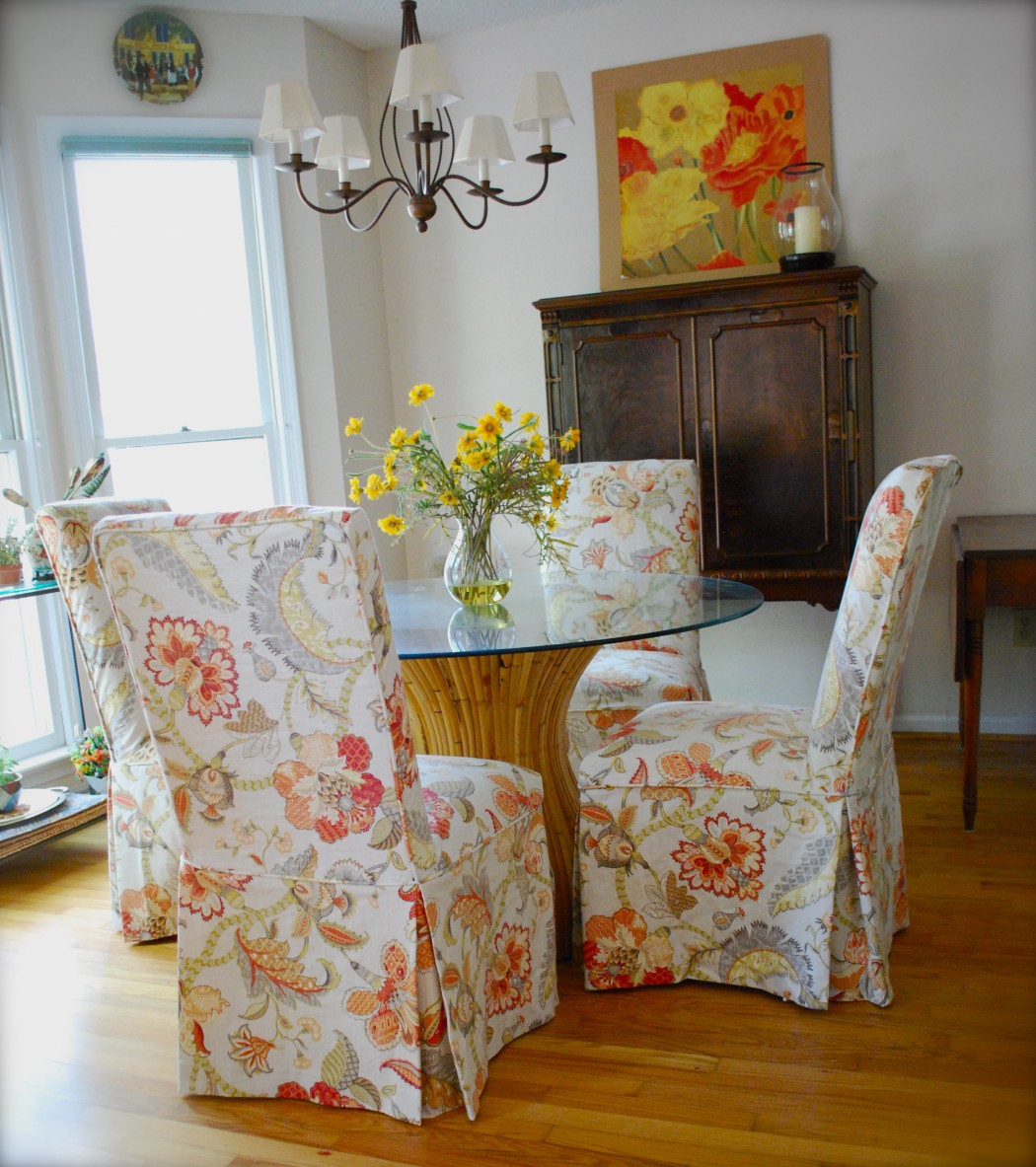 Slipcovers for Parsons Chairs  Pink  Polka Dot