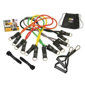 GoFit® Pro Gym-in-a-Bag Round Resistance Bands with Handles, Straps, Door Anchor and DVD