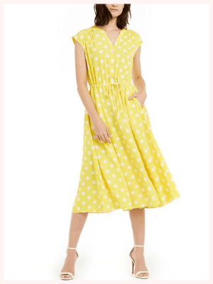Anne Klein Dotted Drawstring-Waist Midi Dress