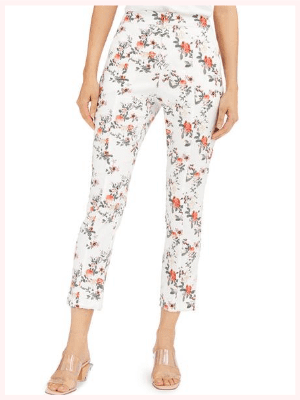 INC Floral Slim Ankle Pants