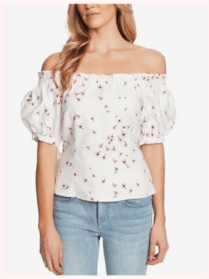 CeCe Printed Off-The-Shoulder Top