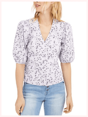 INC Floral Puff-Sleeve Blouse
