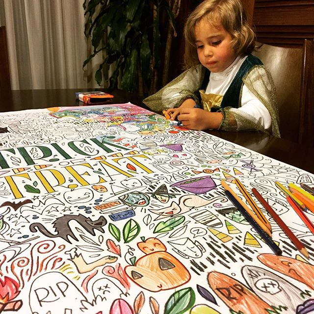 Thanks to @caravanshoppe printables, this princess has been coloring for hours. And she just told me she's staying awake until she finishes the whole thing!