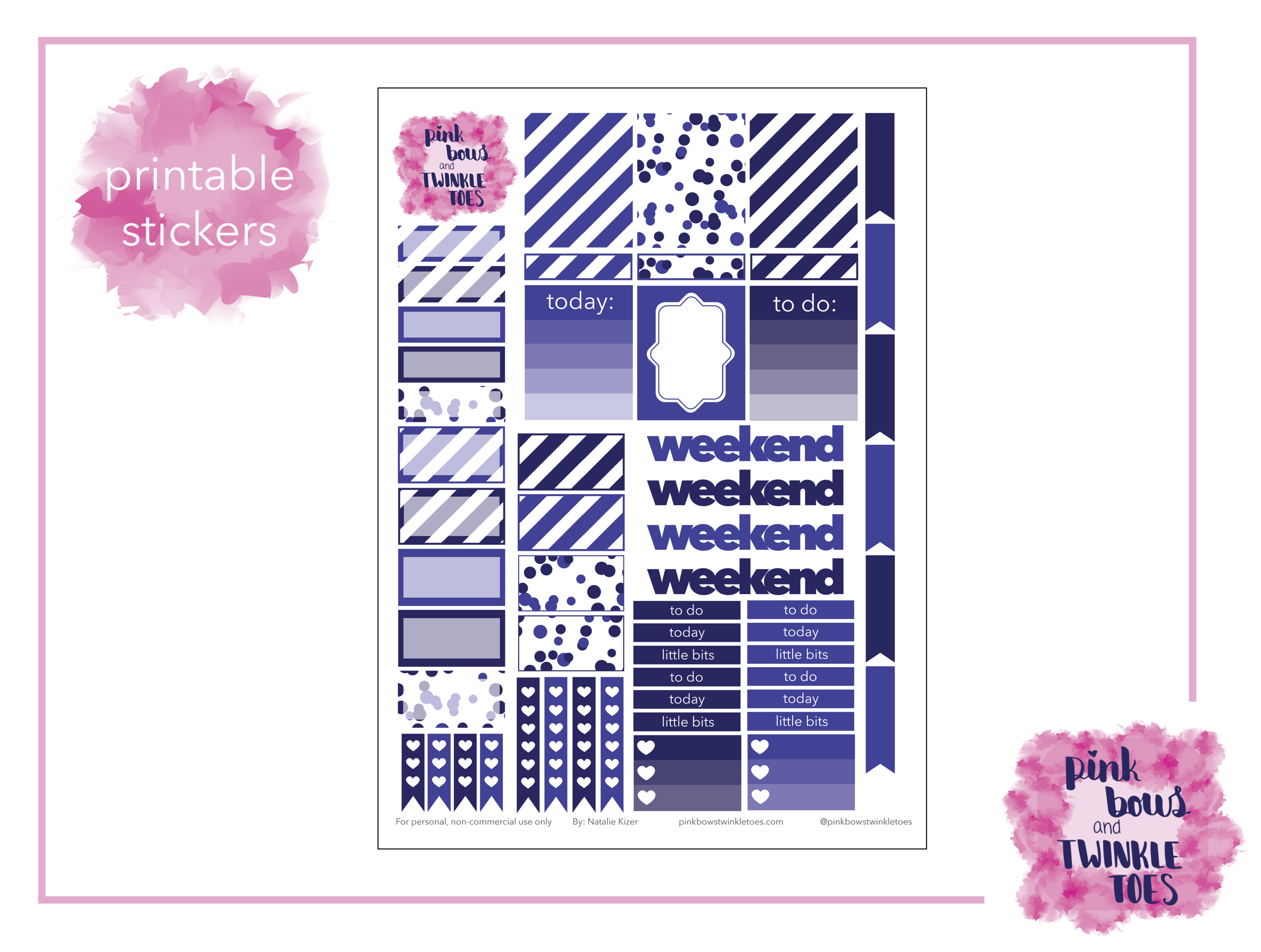 picture regarding Free Printable Functional Planner Stickers named July Practical Planner Stickers: Totally free Printable - Purple Bows