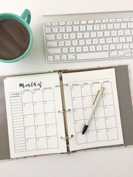 Monthly Calendar: Free Printable Planner Insert