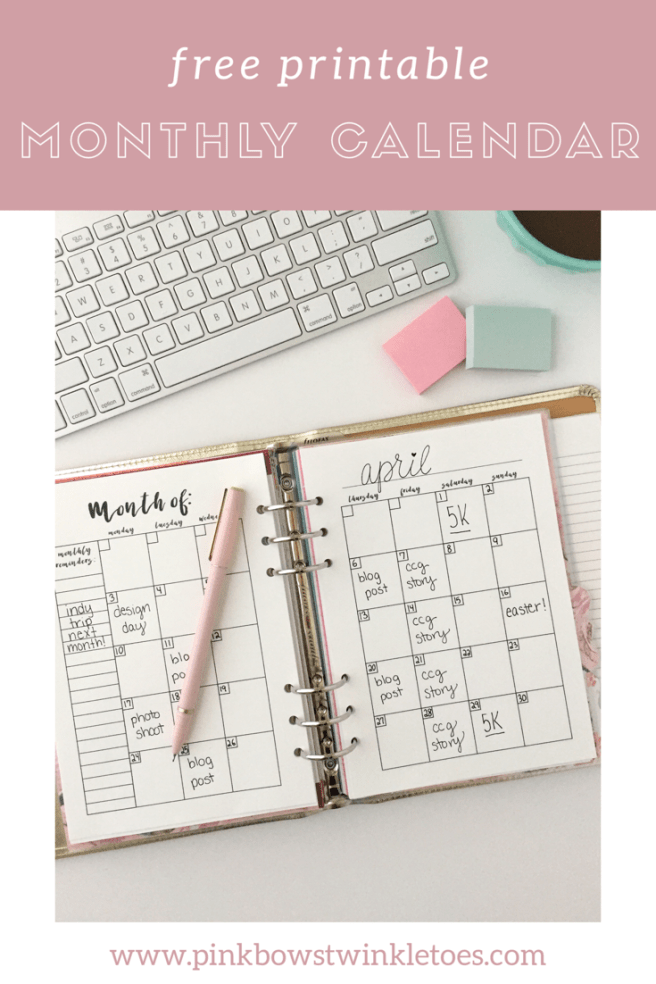 It is a picture of Massif Free Monthly Planner Printables