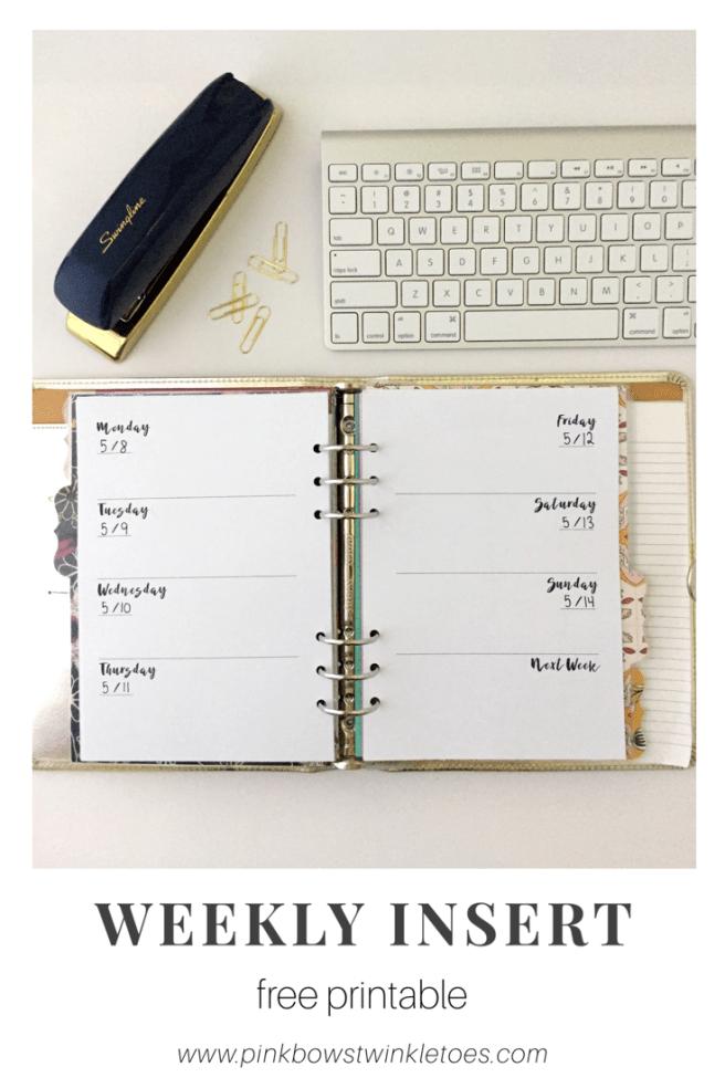 Weekly Planner: Free Printable Insert - Pink Bows & Twinkle Toes