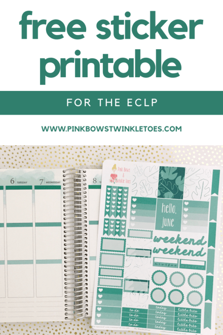 June Functional Planner Stickers: Free Printable - Pink Bows & Twinkle Toes