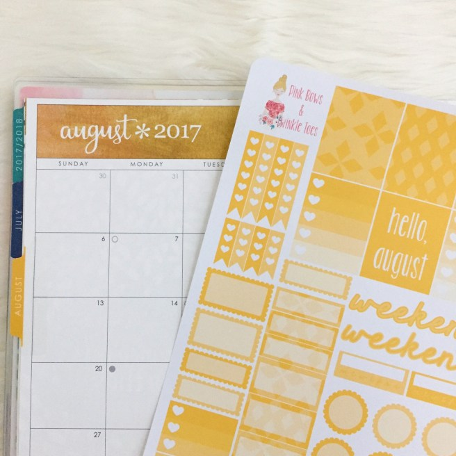 August Functional Planner Stickers Free Printable Pink Bows