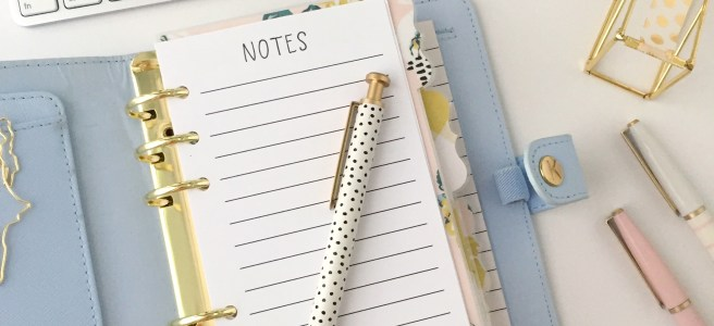Personal Size Notes Insert: Free Planner Printable - Pink Bows & Twinkle Toes