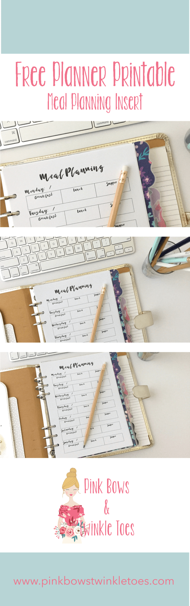 Meal Planning Insert: Free A5 Printable Planner Insert - Pink Bows & Twinkle Toes