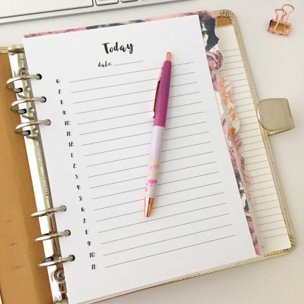 Hourly Insert: Free A5 Planner Printable - Pink Bows & Twinkle Toes