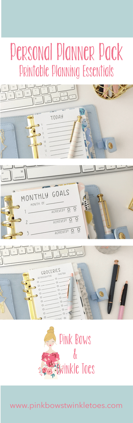 PBTT Personal Planner Pack: Printable Planning Essentials - Pink Bows & Twinkle Toes