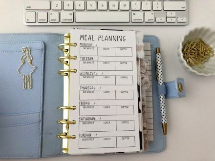 Meal Planning Insert: Free Personal Size Planner Printable - Pink Bows & Twinkle Toes