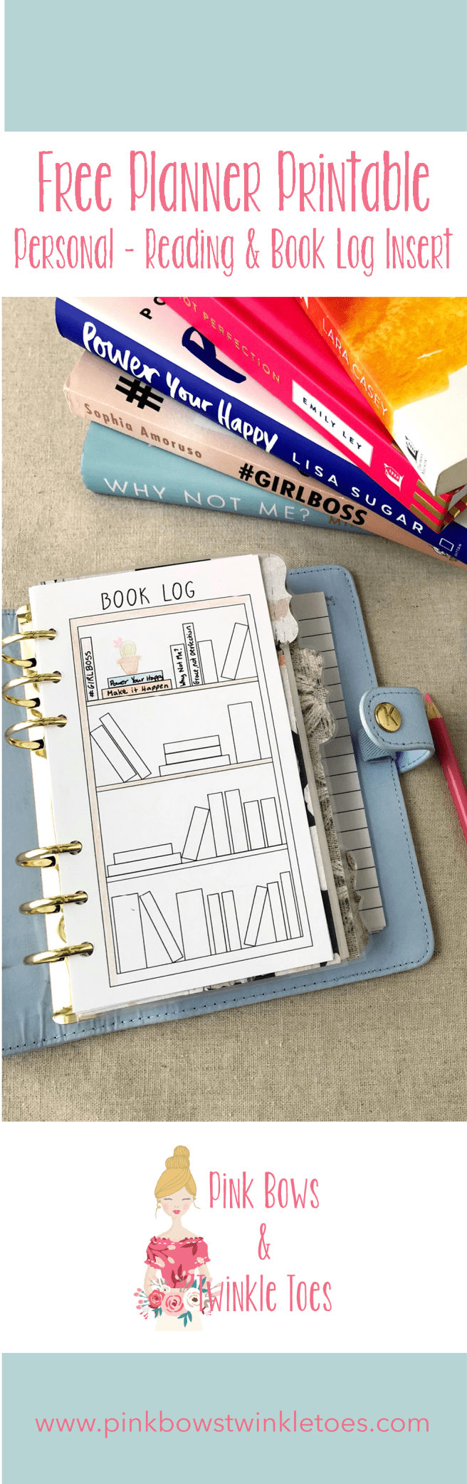Reading & Book Log: Free Personal Size Planner Printable - Pink Bows & Twinkle Toes