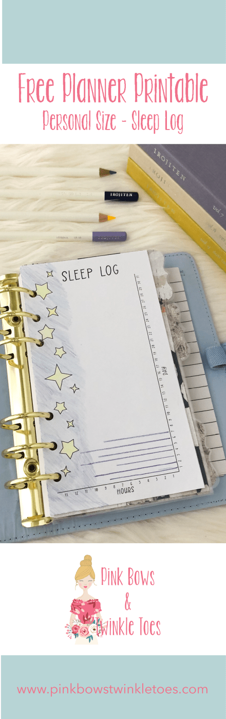 Sleep Log Insert: Free Personal Size Planner Printable - Pink Bows & Twinkle Toes