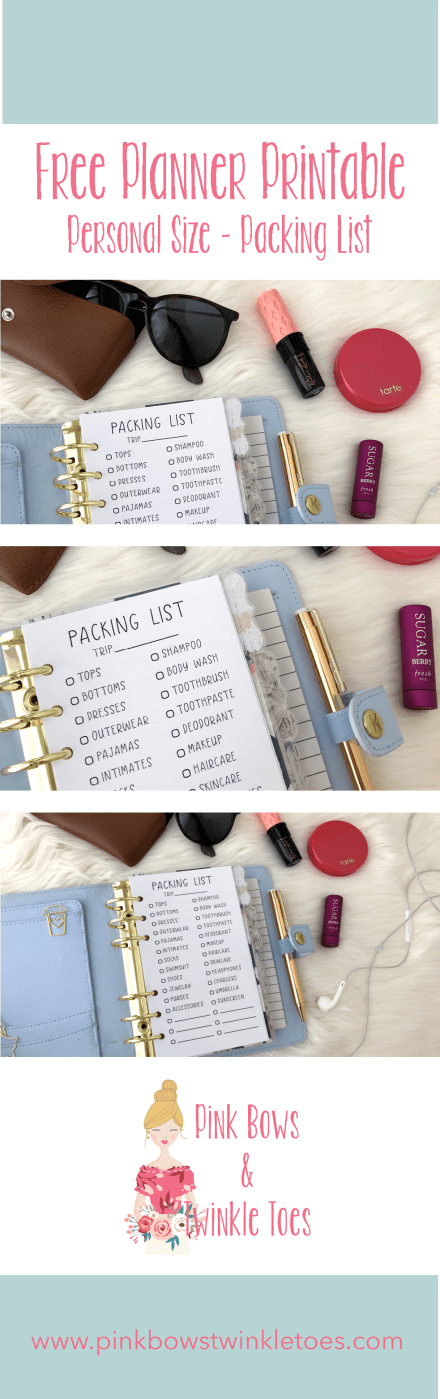 Packing Checklist Insert: Free Personal Size Printable - Pink Bows & Twinkle Toes