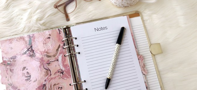Notes Page Printable: Classic Planner Insert - Pink Bows & Twinkle Toes