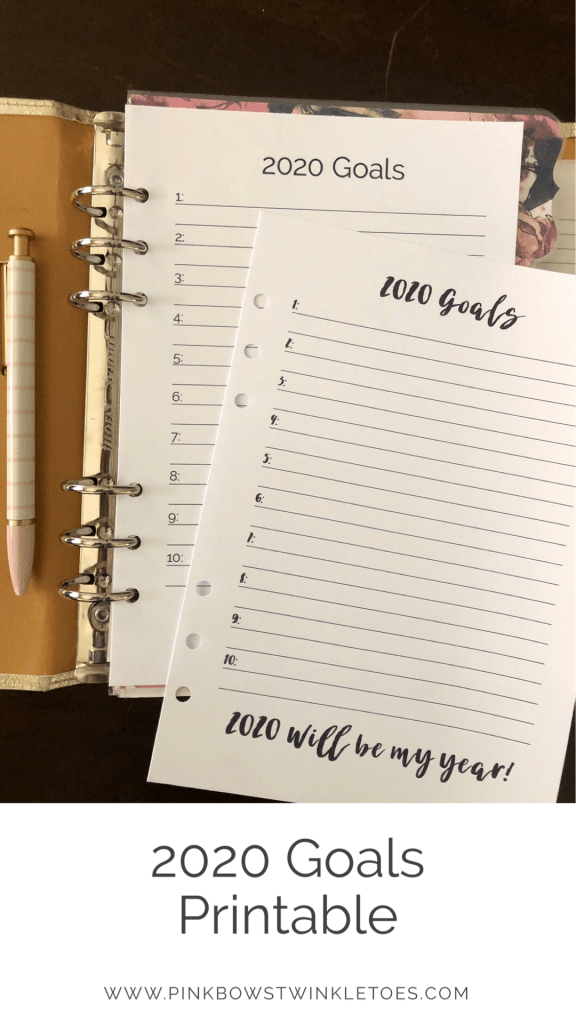 2020 Goals Printable: Free Planner Inserts - Pink Bows & Twinkle Toes