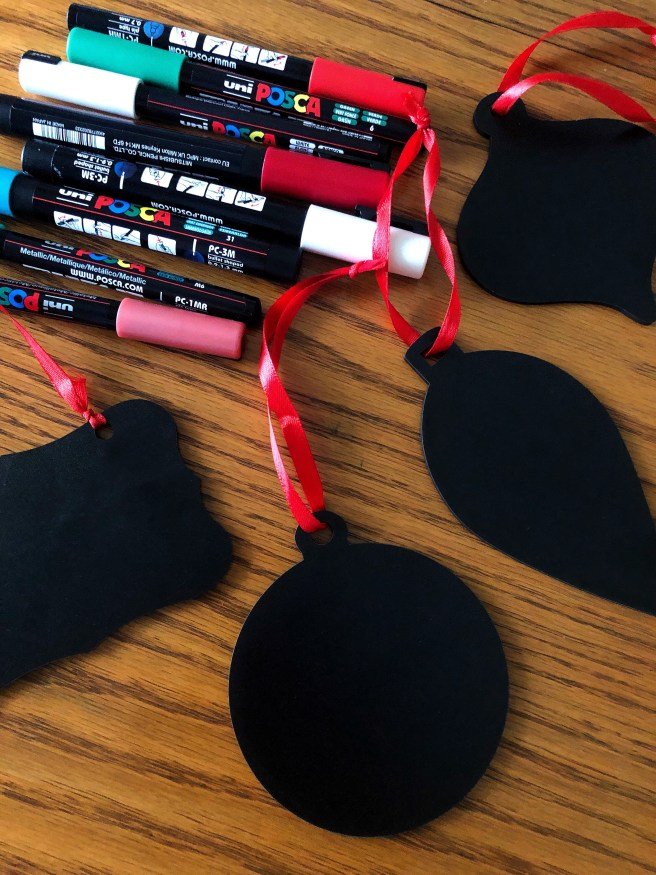 Chalkboard Ornaments - Pink Bows & Twinkle Toes