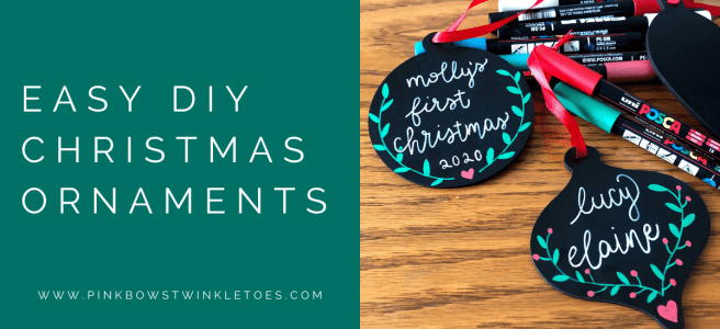 Chalkboard Christmas Ornaments - Pink Bows & Twinkle Toes