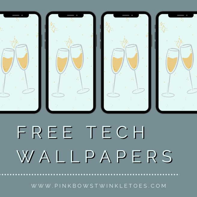 Champagne Toast Tech Wallpaper - Pink Bows & Twinkle Toes