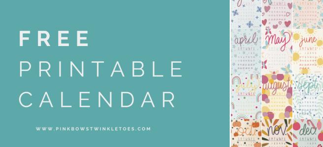 Free Desktop Printable Calendar, 2021 - Pink Bows & Twinkle Toes