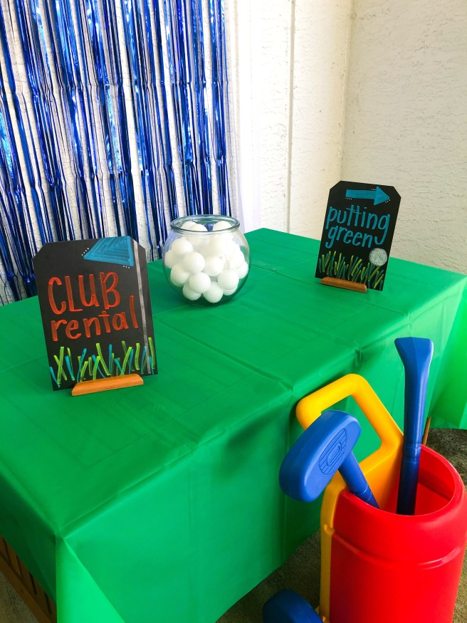 Golf birthday party signage and decor - Pink Bows & Twinkle Toes