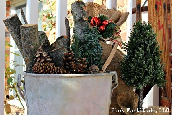 Rustic Christmas Porch Vignette by coconutheadsurvivalguide.com #branches #galvanized #burlap