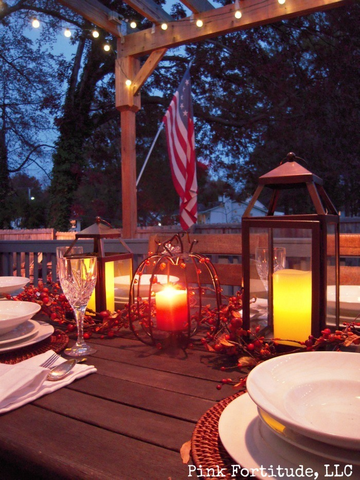 As a special treat for you today, we are going a little rustic to enjoy an outdoor Thanksgiving tablescape.