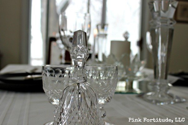 New Years Eve Tablescape by coconutheadsurvivalguide.com #crystal #black #white