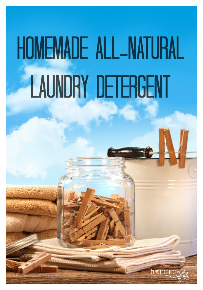 I've been on a green and homesteading kick lately, so today I'm going to share with you how to make your own homemade laundry detergent.  It's all natural, non-toxic, and oh by the way... you can save $70 or more a year!  Hello frugal living! #laundry #laundrydetergent #clean #allnatural #diy #essentialoils #pinkfortitude