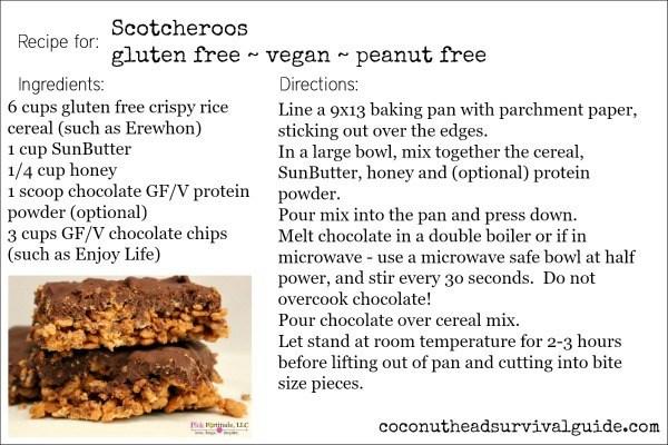 Scotcheroos - Gluten Free, Vegan, No Peanuts, No Sugar by coconutheadsurvivalguide.com
