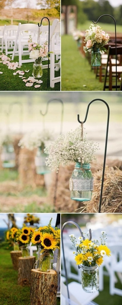 rustic-outdoor-wedding-aisle-decorations-with-mason-jars-and-flowers