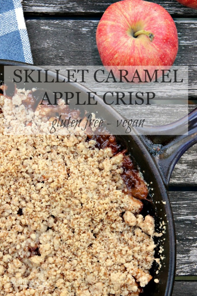 Fall and apple crisp go together like... well... fall and apple crisp.  This recipe is made in a skillet and is gluten free and vegan. For those with these dietary protocols, it doesn't... fall... short on flavor one bit! Oh and PS - it has some yummy caramel flavor which takes the flavor over the top!