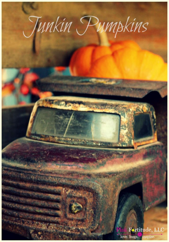 I have been on the lookout for an old rusted (toy) truck for awhile. On a recent trip back home, Hubby and I were antiquing and there it was. Perfectly rusted. Perfectly old. Simply perfect. I added some mini pumpkins to the truck bed and now it is the welcoming fall vignette on our front portico.