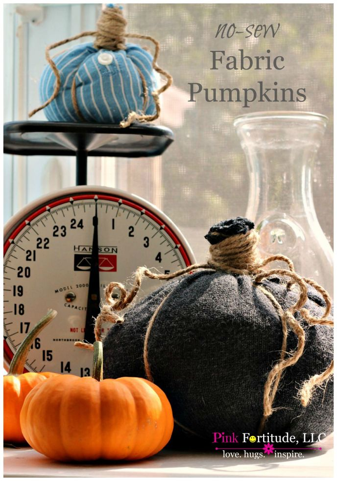 I've seen these adorable little fabric pumpkins all over Pinterest and knew I had to try to make them myself! They are so easy to make! If you have any old shirts, sweaters, or come across a cheap yard sale find, this is a brilliant way to upcycle the fabric into these cute and festive fall pumpkins. Here's how! #fabricpumpkin #falldecor #pinkfortitude