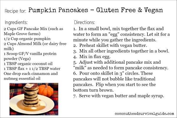 Pumpkin Pancakes - Gluten Free & Vegan by coconutheadsurvivalguide.com